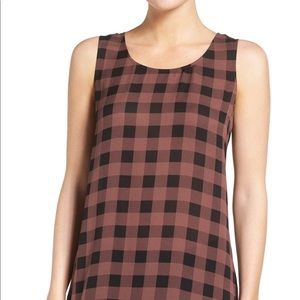 Eileen Fisher Buffalo Check Tunic 100% Silk Top M